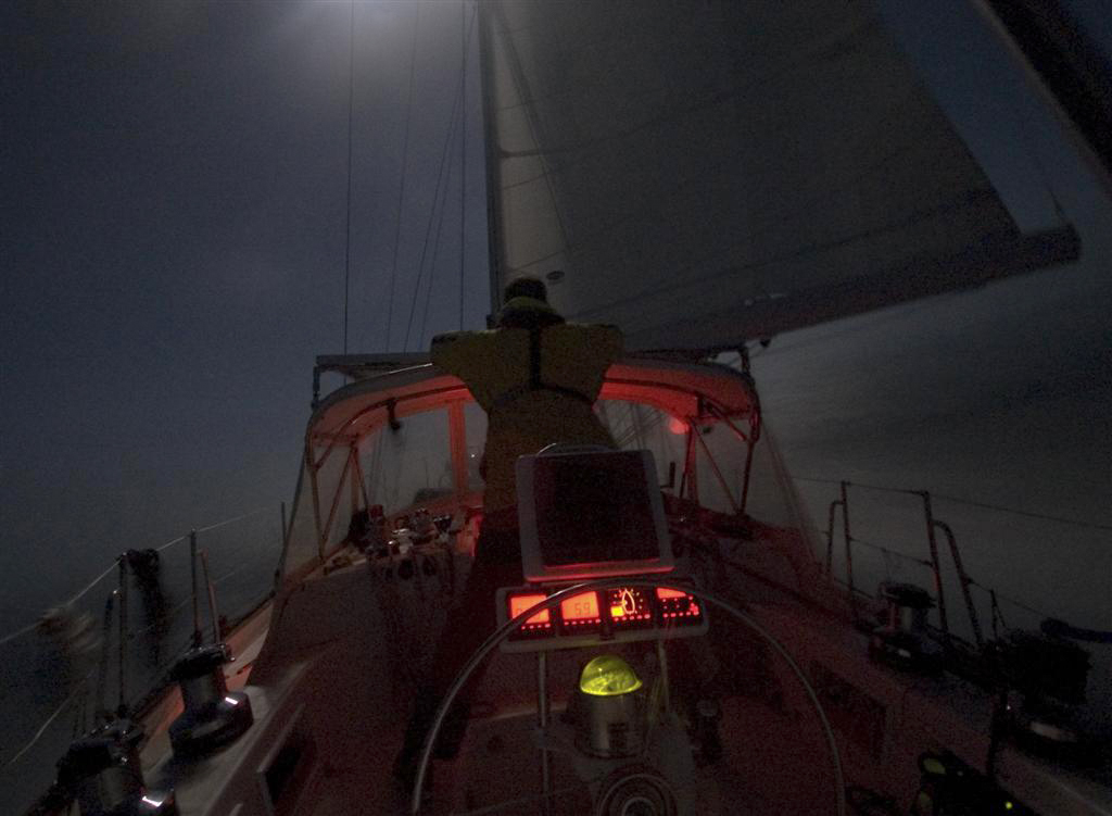 Sailing at night, without a horizon, and only a star to steer her by. Photo: Paul Carson / www.SailValis.com
