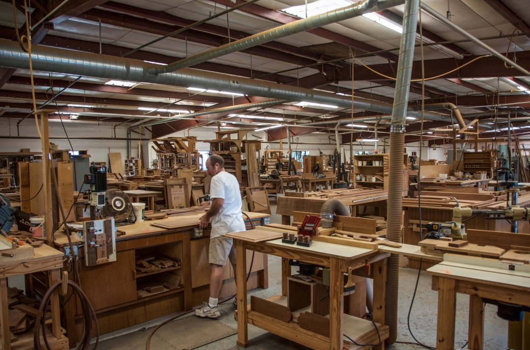 The wood shop at Island Packet Yachts. Most of the finished interiors are now constructed with the beautiful--and sustainable--sapele wood.