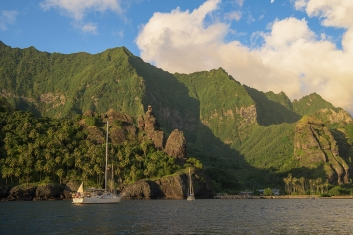 Flying Fish is anchored in Fatu Hiva's famed Bay of Virgins after nearly a month at sea crossing from Central America to French Polynesia