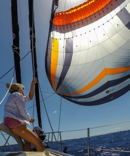 The spinnaker is a perfect sail for the downwind run to Papeete