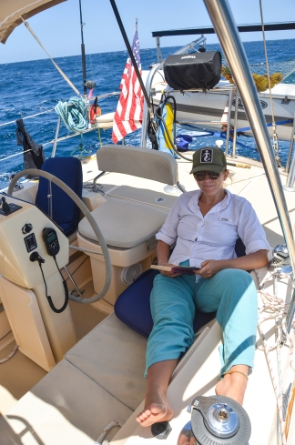 Reading is one of the luxuries of a long sailing passage and Lilly reads a new book each day