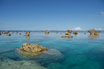 A surreal area of rock formations on Kenutu Island in Tonga forms an immoveable barrier reef