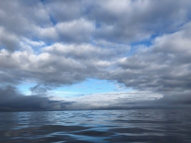 The sea and sky change after gale-force winds exceeding 40 knots swept across the boat the day before