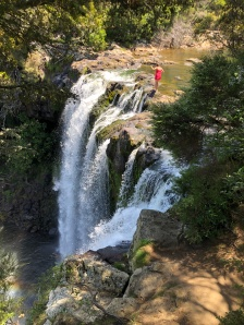 Dancing on the edge of the beautiful Rainbow Falls near Kerikeri, New Zealand