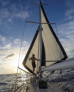 Sailing with jib and staysail before the wind is the most restful point of sail